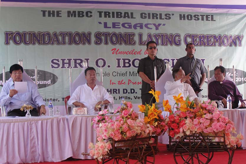 O Ibobi Singh, Chief Minister of Manipur flanked by LP Gonmei, principal secretary, TD, Hills and DD Thaisii on the right and Rev. Vumthang Sitlou, general secretary, MBC at the Foundation Stone laying ceremony of the MBC Tribal Girls' Hostel today. 2010-10-05 | by : IFP Photo