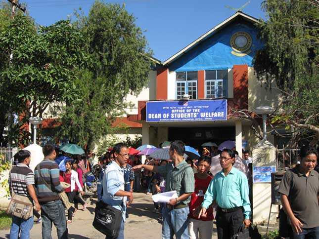 Irate hostellers and students of Manipur University coming out from Students' Home after submitting memorandum to the vice-chancellor regarding the grievances of the hostellers. 2010-11-05 | by : IFP Photo