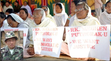 Women folk on dharna to denounce the silence maintained by Delhi and Dhaka on the status of RK Meghen. Photo Courtesy: Sangai Express