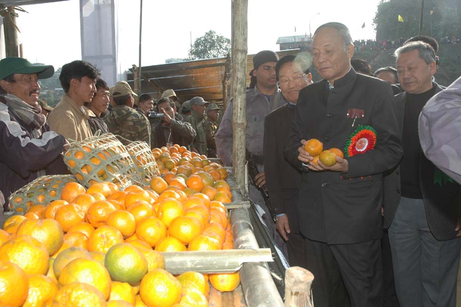 Chief Minister O Ibobi Singh at the inaugural function of Orange Festival at Tamenglong Sunday. 2010-12-13 | by : IFP Photo