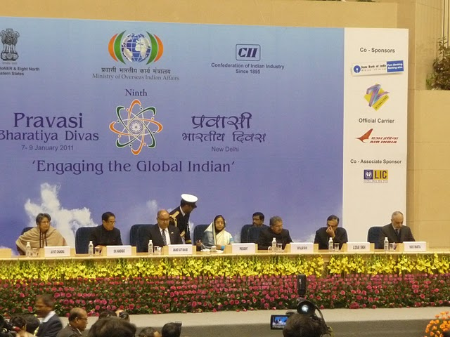Ms. Jayati Chandra (Secretary, DoNER), B.K. Handique (Minister of DoNER), Sir Anand Satyanand (Governor General of New Zealand), Smt. Pratibha Devisingh Patil (President of India), Vayalar Ravi (Minister of Overseas Indian Affairs), A. Didar Singh (Secretary, Ministry of Overseas Indian Affairs), Hari S. Bhartia (President, Confederation of Indian Industry)