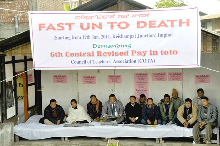 Council of Teachers' Association (COTA) launching Fast unto Death demanding 6th Pay in toto at Keishampat junction on Wednusday.