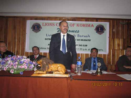 Lion Dr Animesh Baruah, District Governor, addressing Annual Official Visitation of the Lions Club of Kohima here at Hotel Japfu on February 13, 2011. Lion Dr Sashimeren Aier, LCK President (2nd right) also seen. Photo by NEPS/Oken Jeet Sandham