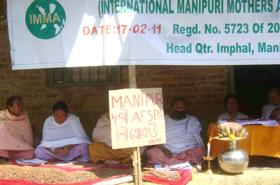 Sit-in-protest demonstration staged by International Manipuri Mothers' Association (IMMA) at Wangkhei Thangjam Leirak demanding the repeal of Armed Forces Special Power Act, 1958.