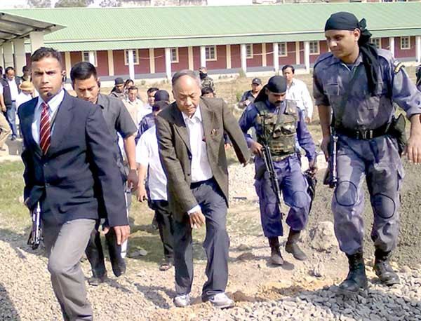 Manipur chief minister O Ibobi Singh inspecting the National Institute of Technology (NIT) at Takyel in Imphal on Friday. The chief minister was surveying the constructions of boys' and girls' hostels at the institute campus.