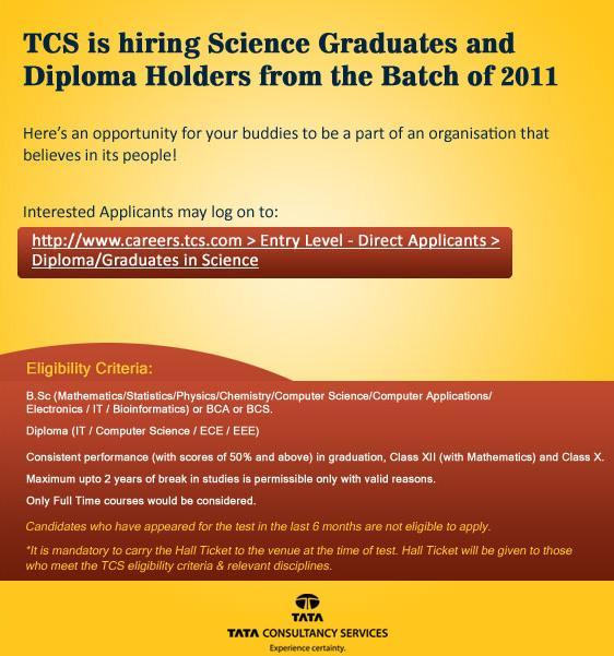 TCS is hiring fresh graduates of 2011