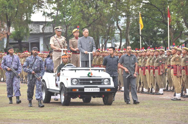Chief Minister O. Ibobi Singh inspecting the 46 batch of the Manipur police during the passing out ceremony held at Pangei in the presence of Chief Minister O. Ibobi Singh and official of the Home department.