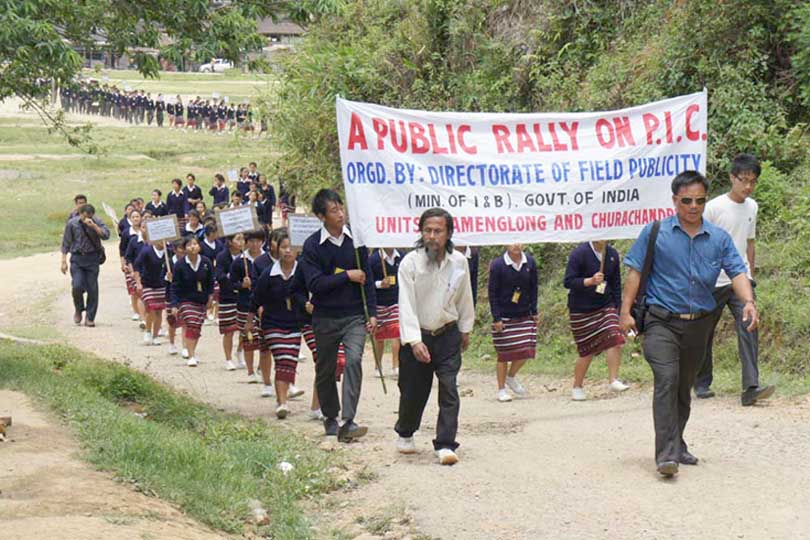 School students participating a public rally in connection with Bharat Nirman public information campaign in Tamenglong district of Manipur on 18 May.