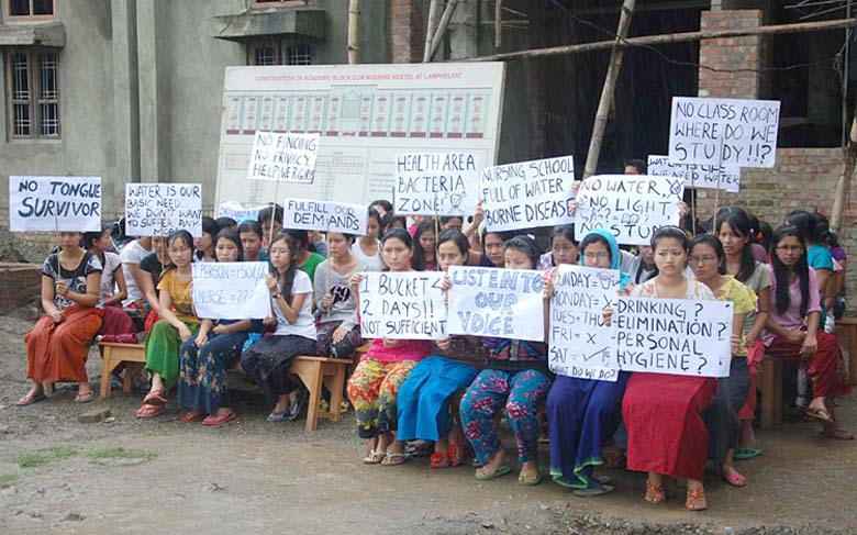 Hostellers of the Nurses' hostel of the School of GNM, Manipur today gathered in front of their hostel demanding actions from the concerned authorities regarding the lack of basic amenities and infrastructure in their hostel.