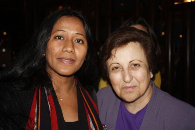 Binalakshmi Nepram with 2003 Nobel Peace Laureate, Shirin Ibadi. Photo by Jennifer Shepherd