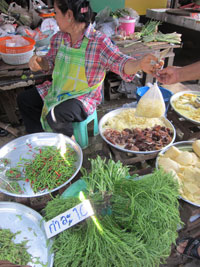 The vegetable market on the railway track in Samut Songkram province.