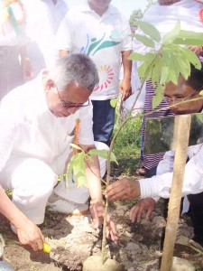 Lok Sabha MP from state, Thokchom Meinya planting a sapling during the environment day observation organized by the Vision Fondation Manipur and Pioneer Health Club Manipur under the sponshership of Environment and Ecology Wing, And Central Forest Department.