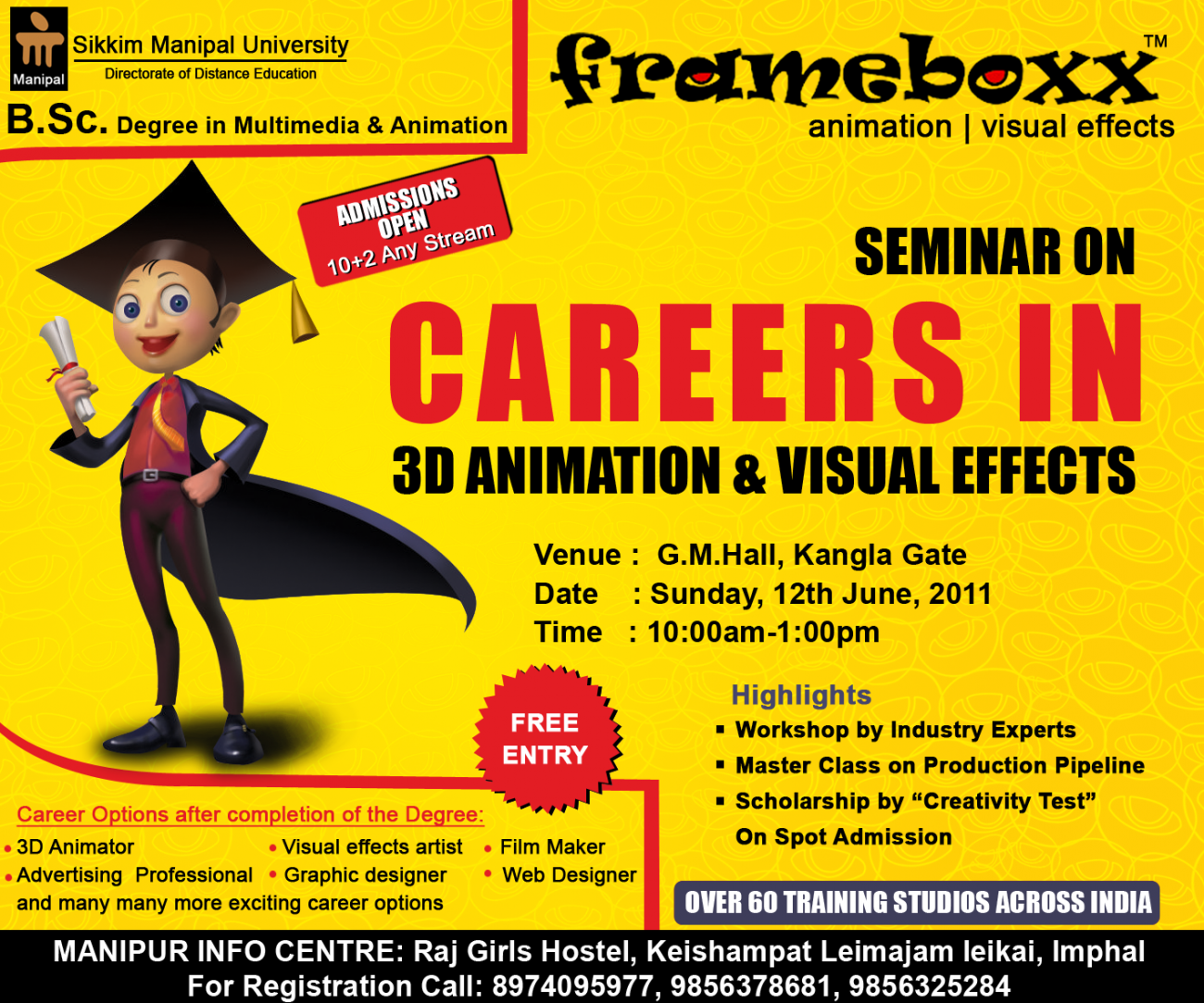 Frameboxx seminar - Careers in Animation and Visual Effects - Sunday, June 12. Click image to enlarge.