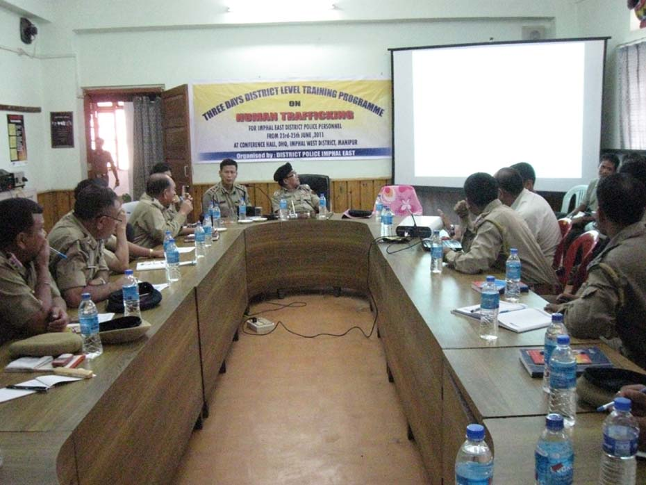 Imphal east district police personnel during the 3 days trainning programme on Human trafficking at the district Head qurater conference hall organised by the Imphal East Police under the sponsorship of Ministry of Home Affairs Govt. of India.