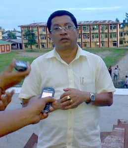 K.Ranjit responding to media persons during a press conference held at NIT complex situated in Governemnt Institute of Technology compound in Takyel on the sideline of spot inspection of the progress of building of infrastructural works of the NIT.