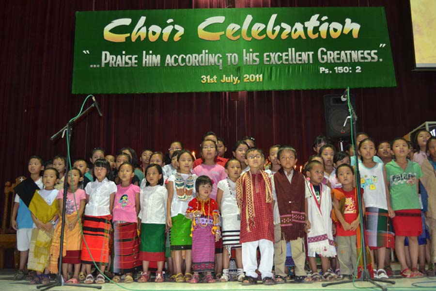 Children taking part in the choir celebration held at MBC church, Imphal on Sunday (July 31, 2011).