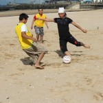 Beach Football in action