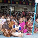A sit-in-protest being staged at Motbung bazaar in solidarity to the hunger strikers and injured victims, demanding full fledged District of Sadar Hills on Sunday.
