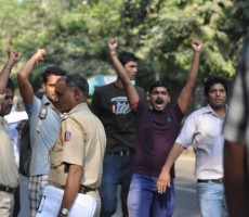 ABVP workers come in and attack the peaceful protest march . Click to view the gallery : Photo Credit: Save Sharmila Campaign