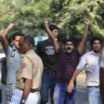 ABVP workers come in and attack the peaceful protest march