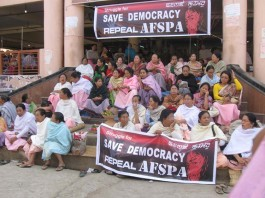 Demonstration at Ima Keithel, Imphal organized in observation of 11 years completion of Sharmila's fast demanding repeal fo AFSPA.