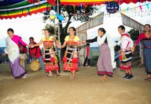 Womenfolk of Meitei and Kabui communities celebrating Gaan Ngai together. Womenfolk of Meitei community from Lillong Arapti Maning leikai celebrated the festival with the Kabui womenfolk of Lilong Chaoubok village with a Thabal Chongba.