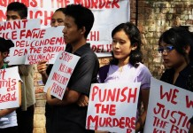 Protest against the murder of Loitam Richard at Jantar Mantar in New Delhi on April 29