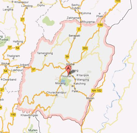 Manipur Map as seen on Google Maps
