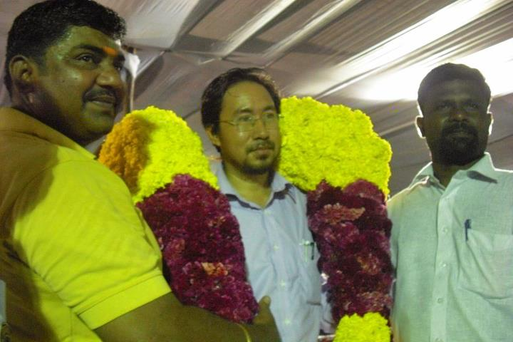 Oken Jeet Sandham given Tamil Traditional Welcome at Port City of Tamil Nadu