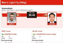 Barnes Paddy vs Laishram Devendro Singh Olympics Mens Light Fly Quaterfinals Schedules