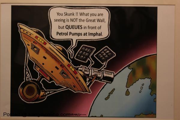 On exhibit- the award winning cartoon by Manas Maisnam