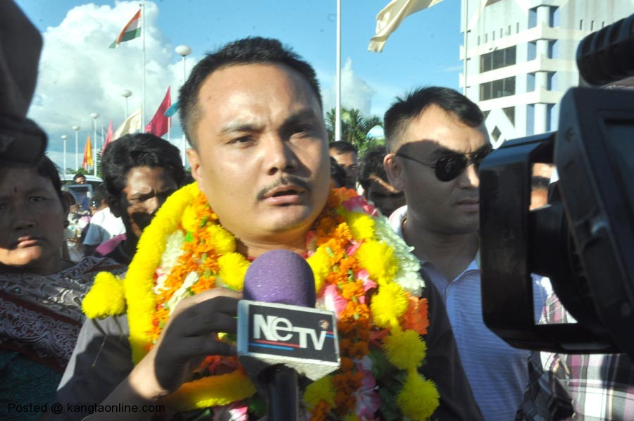 KCP (City Meitei) leader Naorem Brojen alias City Meitei brought back to the state on an Air India flight AI 723 by Sajiwa Jail SP IK Muivah and Imphal Police SDPO Madunimai from the national capital.