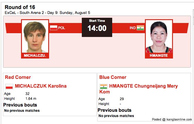Chungneijang Mery Kom Hmangte vs Karolina Michalczuk on Sun 5 Aug – 14:00  Hours GMT