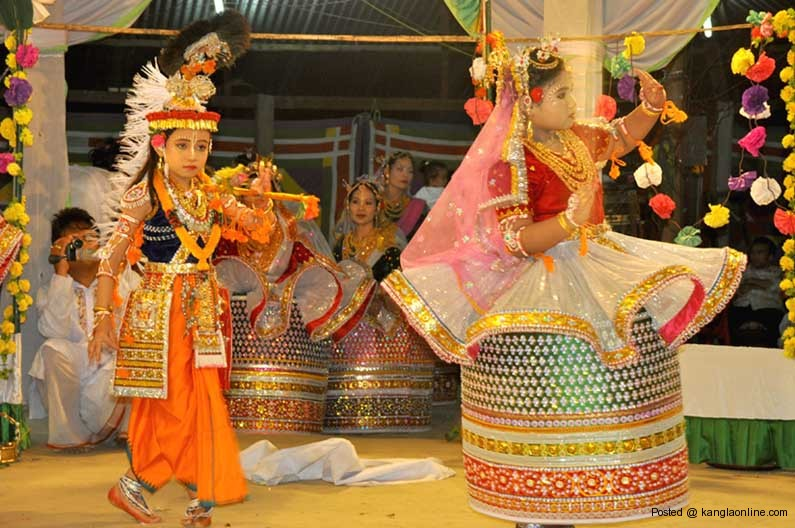 Boys and girls performing Ras Leela (Famous Manipuri Classical Dance form)at the ISKCON temple Manipur, as part of the Janmastami festival on Friday