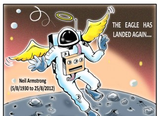Cartoon or Caricature: Neil Alden Armstrong (August 5, 1930 – August 25, 2012) was an American astronaut, test pilot, aerospace engineer, university professor and United States Naval Aviator. He was the first person to walk on the Moon.