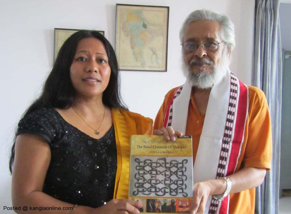Ms Binalakshmi Nepram presenting the book Cheitharol Kumbaba The Royal Chronicle of Manipur by Nepram Bihari to Prof Basudev Chatterji Chairman of ICHR