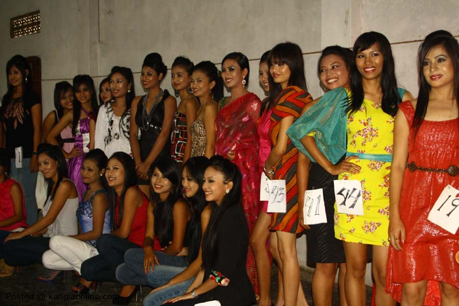 Contestants posing for a group picture during the Miss Manipur contestant screening test at the Iboyaima Shumang Leela Shanglen on Wednesday