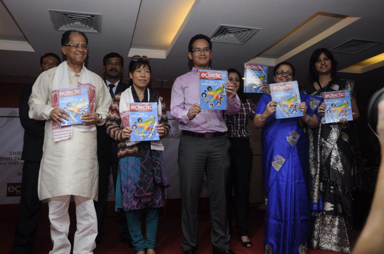 CM of Assam, Shri Tarun Gogoi, Olympic Champion, MC Mary Kom, Director, Eclectic Publications, Gaurav Gogoi, Managing Ditrector, Tanushree Hazarika, releasing Eclectic Northeast