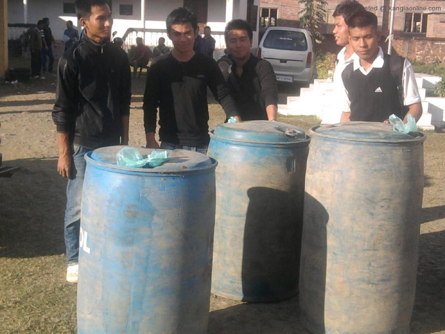 The petrol drums seized by the AMSU being paraded before the media persons on Tuesday.