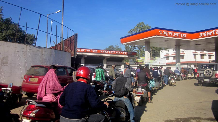 Vehicles were seen lining up at the Imphal petrol pumps on Monday following the blockade impose on highways by the KSDC in demand of a seperate Kuki state.
