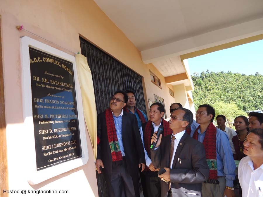 Works Minister Kh Ratankumar and others during the naugural of the SDO office at Moreh on Wednesday