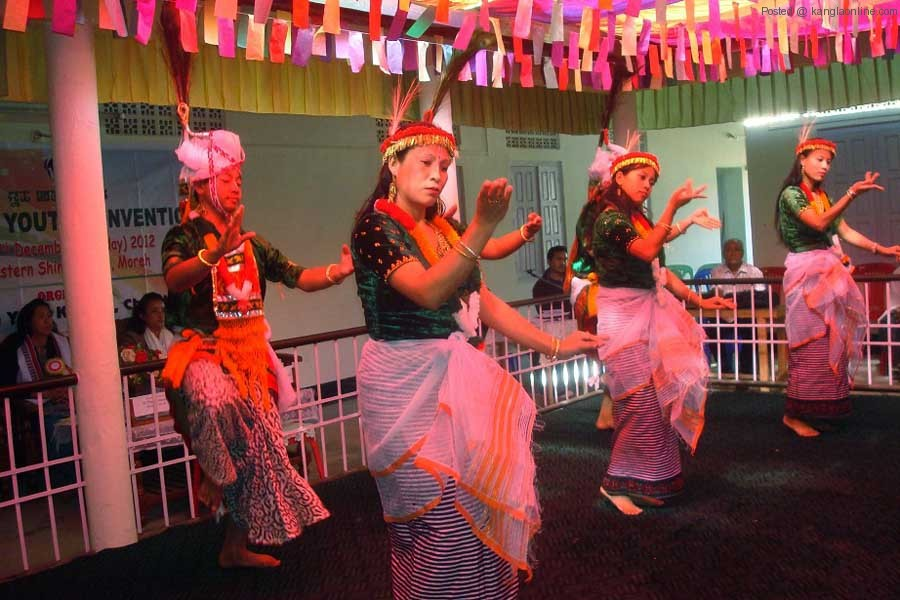A cultural dance show being showcased during the District Youth Convention at Moreh on Monday