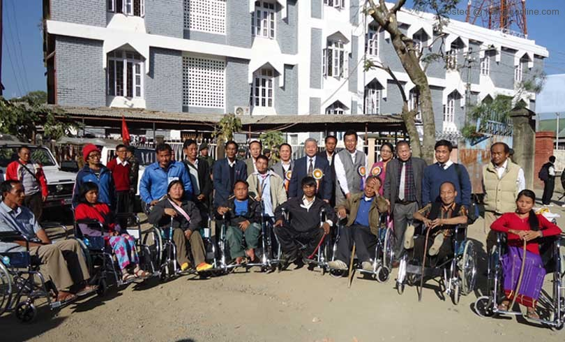 Dy CM Gaikhangam along with the differently abled persons during the Persons with Disabilities day on Monday