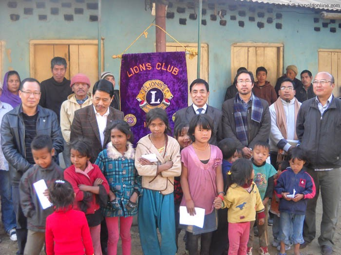 Kohima Lion Members with leprosy inmates at Leporsy Colony, Kohima