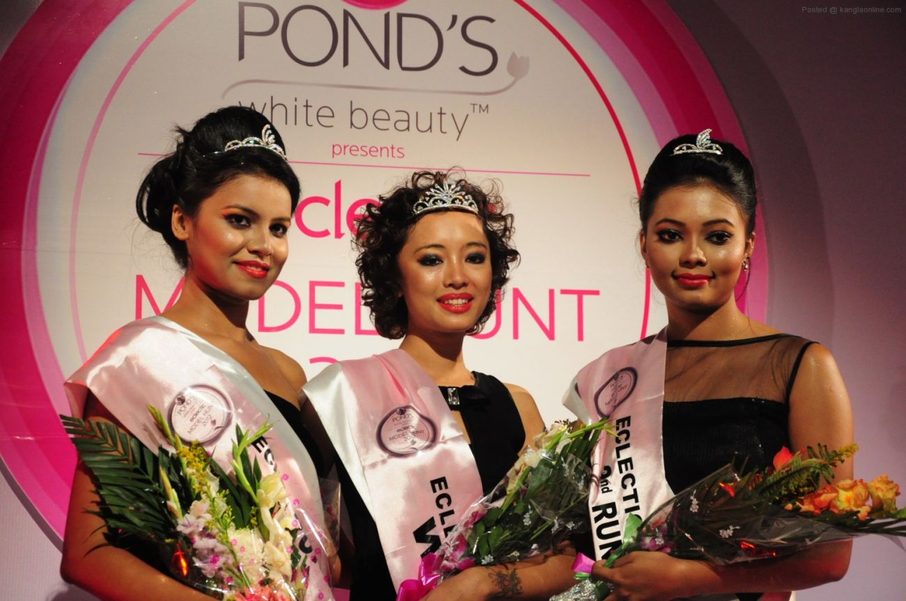 L-RPond's Eclectic Super Model Ist runner up Srutiparna Lahkar,  winner Rudy D Marak and 2nd runner up Ankita Chakraborty pose after event (2)