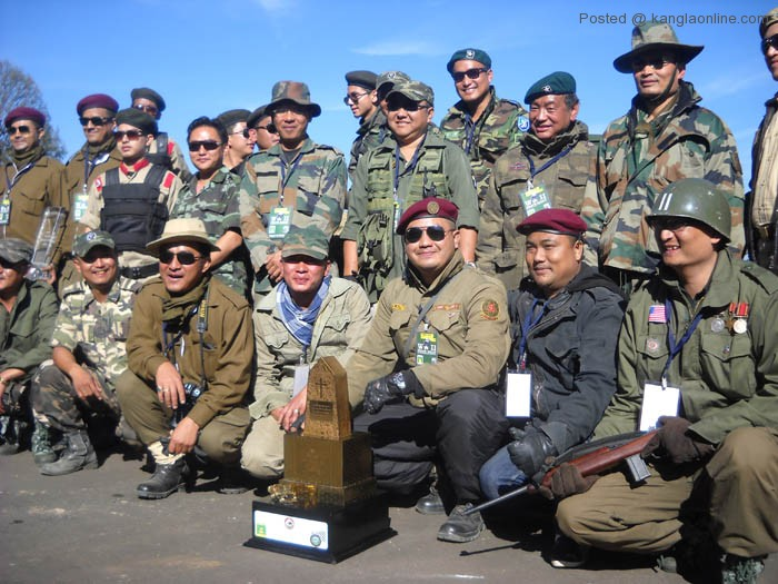 Participants of the World War 2 Peace Rally with their Trophies. Winner of this year's World War 2 Peace Rally went to Manipur Team. Manipur Team leader Mr Tarzan Rajkumar (3rd right seated) seen with Gold Trophy with other participants at World War 2 Museum here at Kisama (Pix by NEPS/Oken Jeet Sandham).