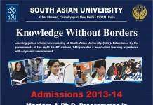 SOUTH ASIAN UNIVERSITY ANNOUNCES ADMISSION, INTRODUCES ONLINE FORMS