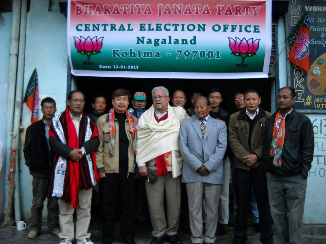 PB Acharya front (3rd left front), Election in-charge of Nagaland and Meghalaya. Former AP MP Tapir Gao (2nd left front), BJP National Secretary, M Chuba Ao (1st left front), State BJP President are also seen in the picture. NEPS Photo