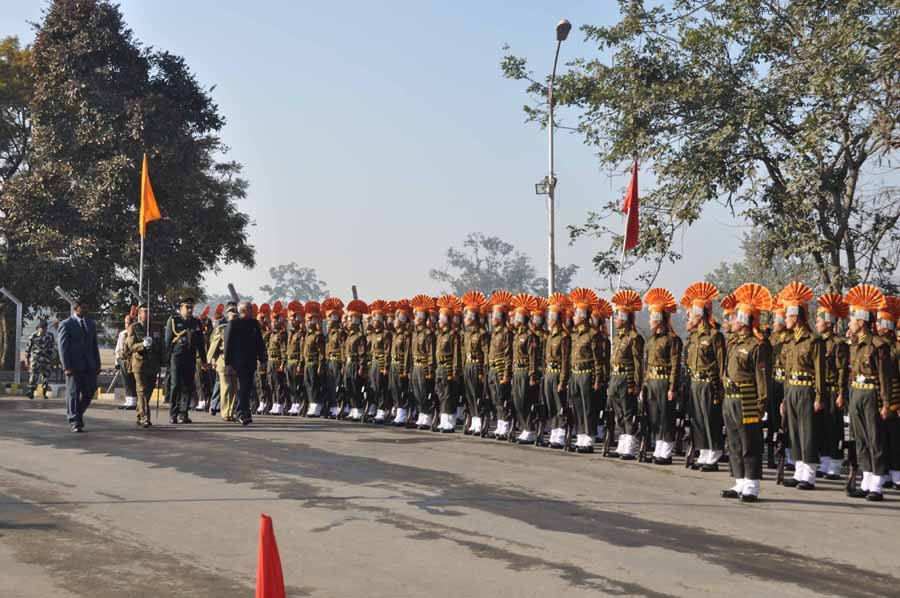 Governor Gurbachan Jagat inspecting the Guard of Honour during the 64 Republic Day celebration on Saturday