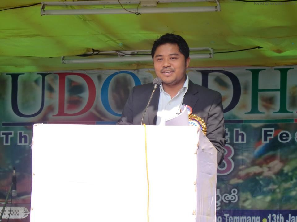 MCDF President Hemanta Larma, speaking at Udondhi programme